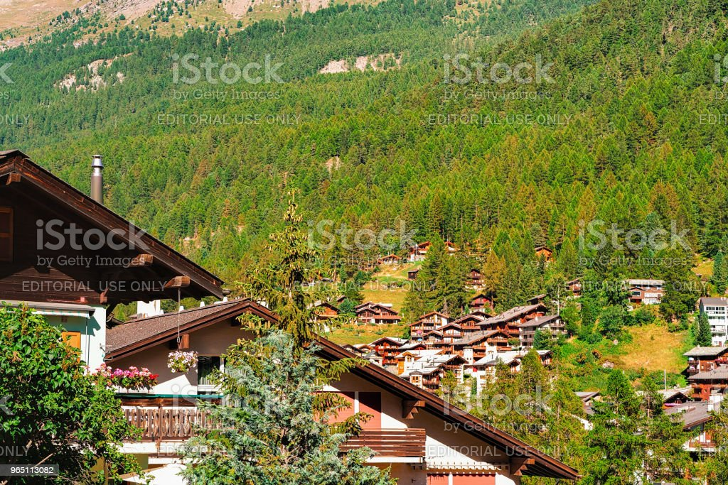 Wooden traditional Swiss chalets in mountains of Zermatt CH zbiór zdjęć royalty-free