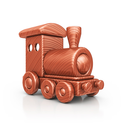 isolated brown wooden train toy.3d render.