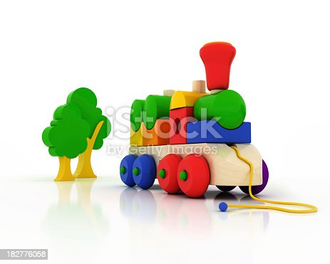 873187696 istock photo A wooden train toy isolated on white 182776058