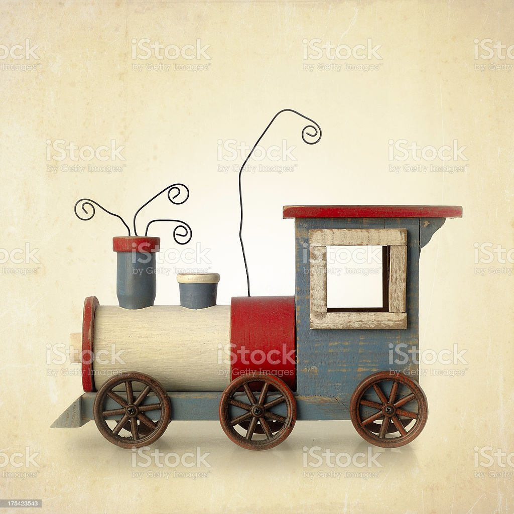 wooden train toy stock photo