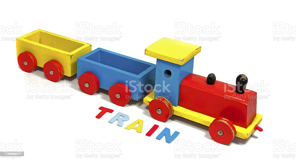wooden train with letters royalty-free stock photo