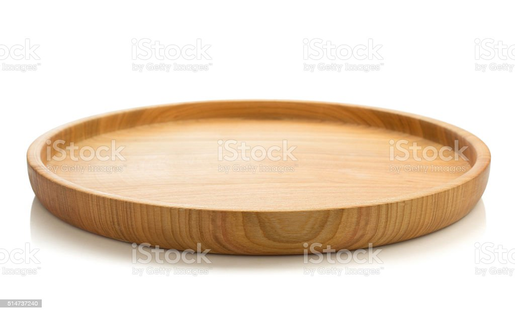 wooden tray isolated on white stock photo