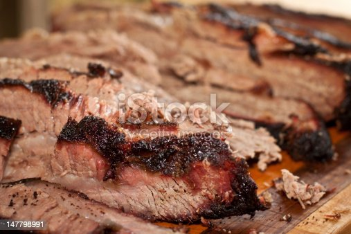 istock A wooden tray of sliced smoked brisket 147798991