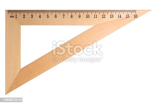 istock Wooden triangle ruler 1063822018