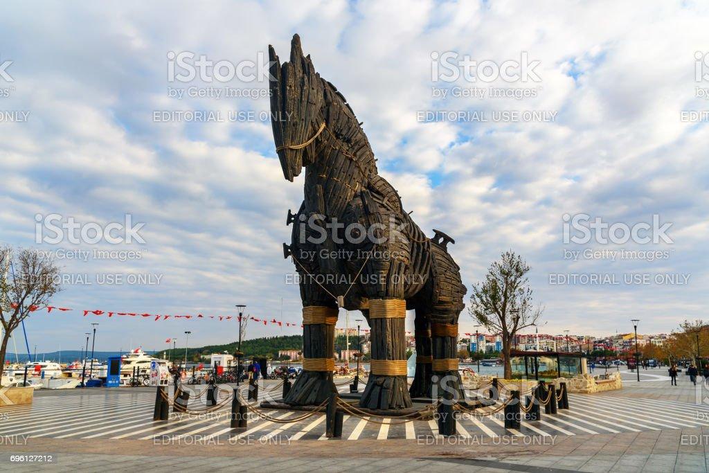 Wooden Trojan Horse in Canakkale, Turkey stock photo
