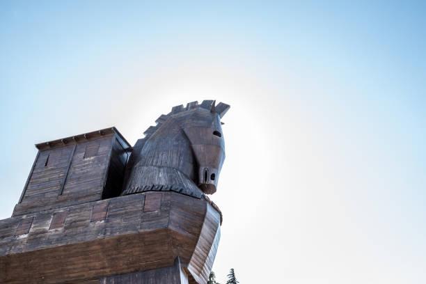 Cтоковое фото Wooden Trojan horse statue in Canakkale,Turkey.