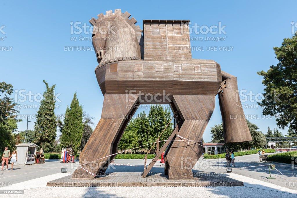Hölzerne Trojanische Pferd Statue in Canakkale, Türkei. – Foto