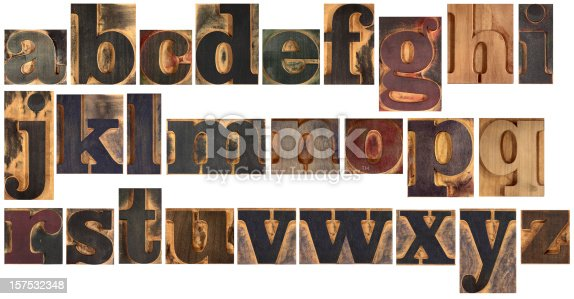 The letters of the alphabet in small wooden single typefaces of a bold font with serifs. These single blocks where used to compose and print words and phrases. Isolated on white. Other XXL letters in:http://i227.photobucket.com/albums/dd10/sdeinobili/printingpress.jpg