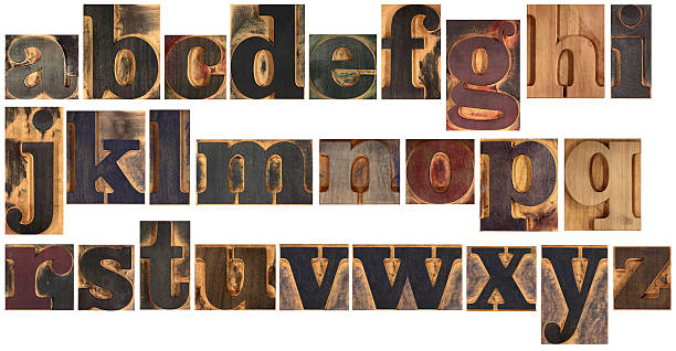 wooden typeset alphabet - letterpress stock photos and pictures