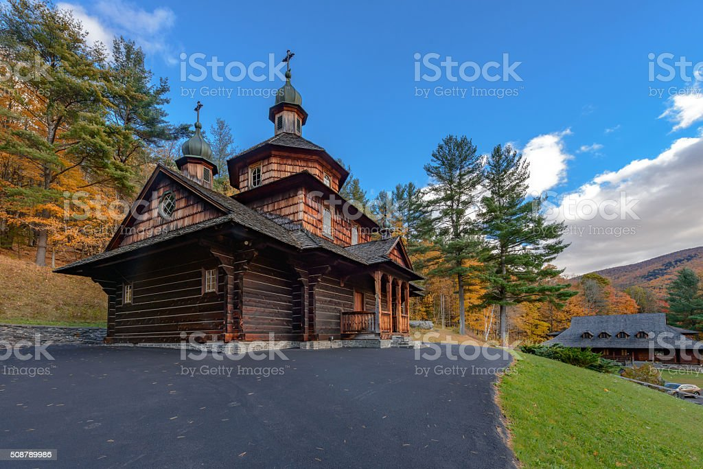Wooden Ukrainian church stock photo
