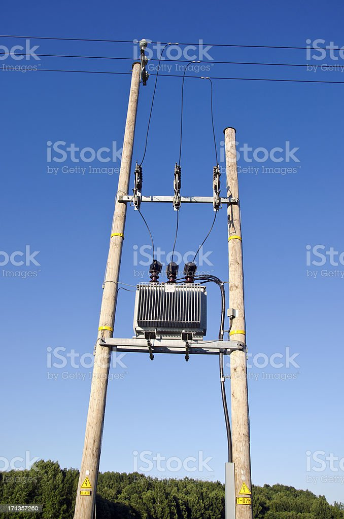 Wooden Utility Pole with Power Lines and transformer royalty-free stock photo