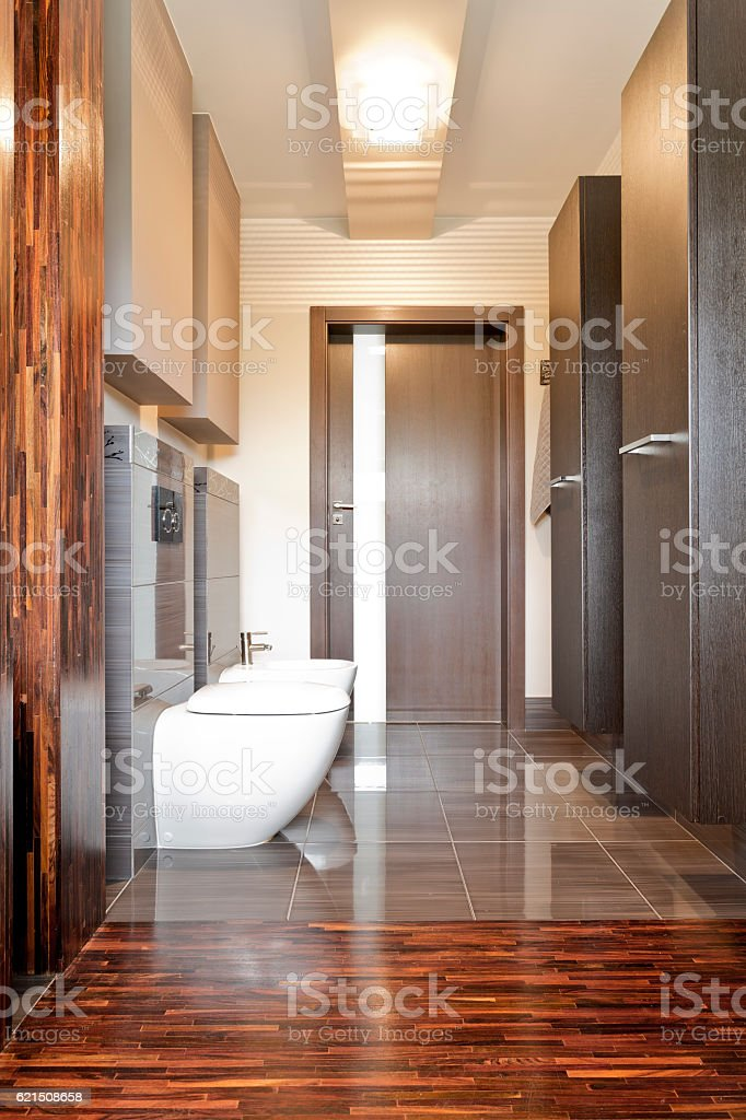 Wooden villa bathroom Lizenzfreies stock-foto