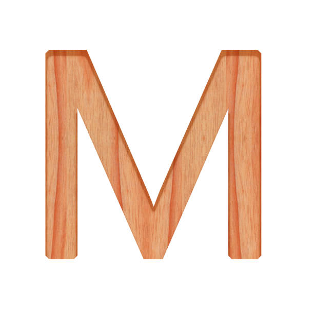 wooden vintage alphabet letter pattern beautiful 3d isolated on white background, capital letter m - tree logo stock photos and pictures