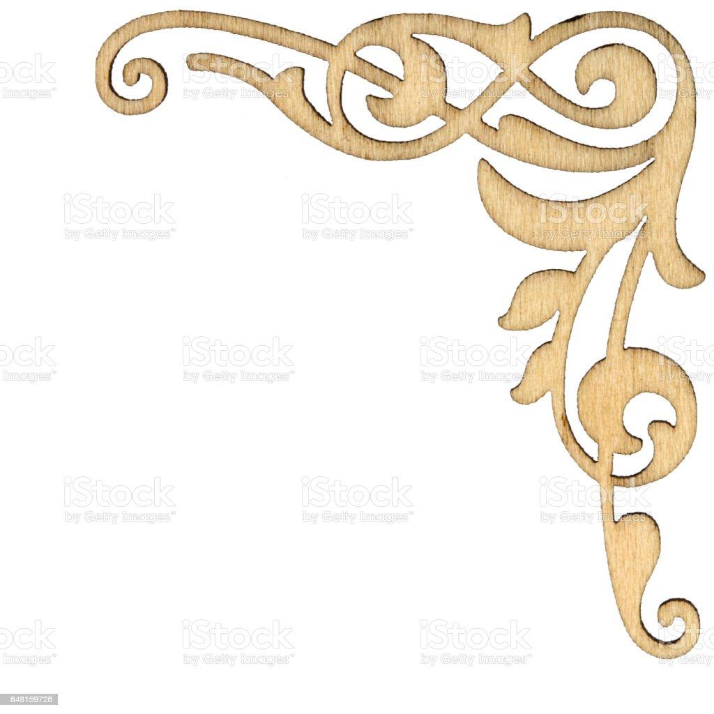 Wooden vintage baroque corner ornament, decorative design element, isolated on white background stock photo