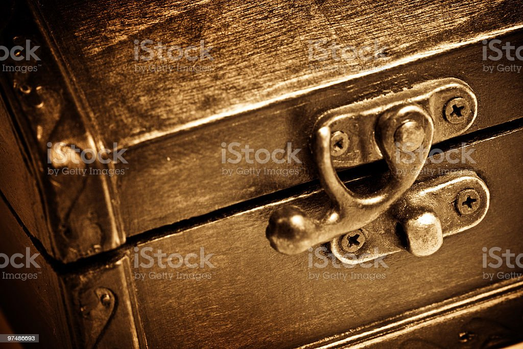 Wooden vintage chest royalty-free stock photo