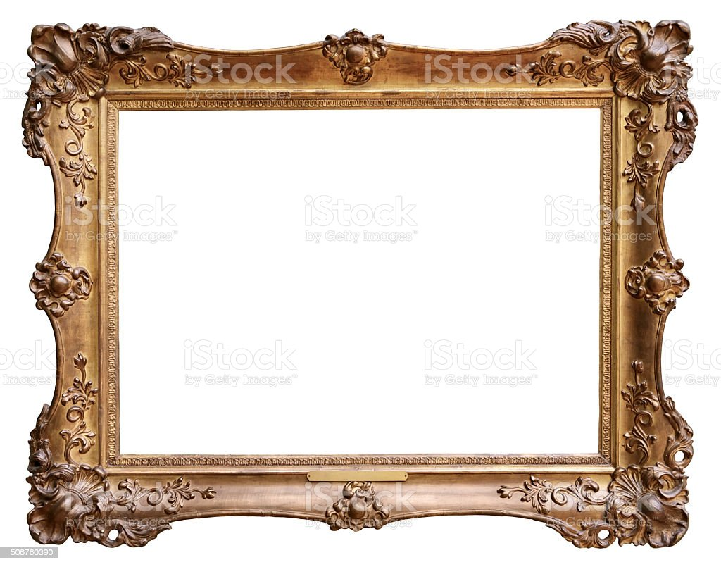 Wooden vintage frame isolated on white background stock photo