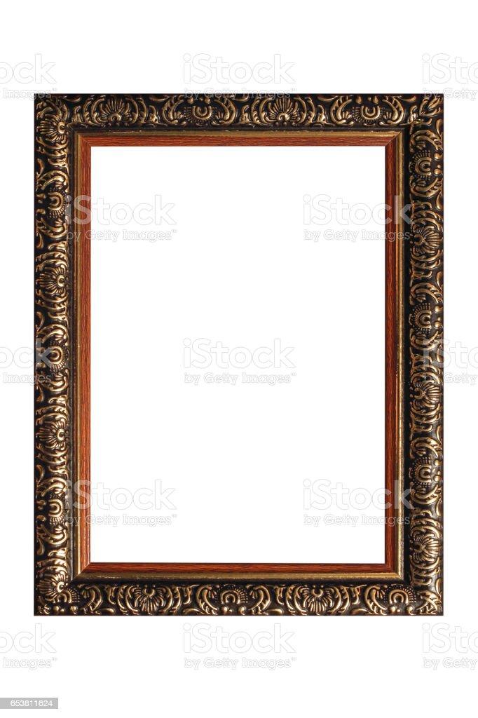 Wooden vintage frame isolated on white background stock photo