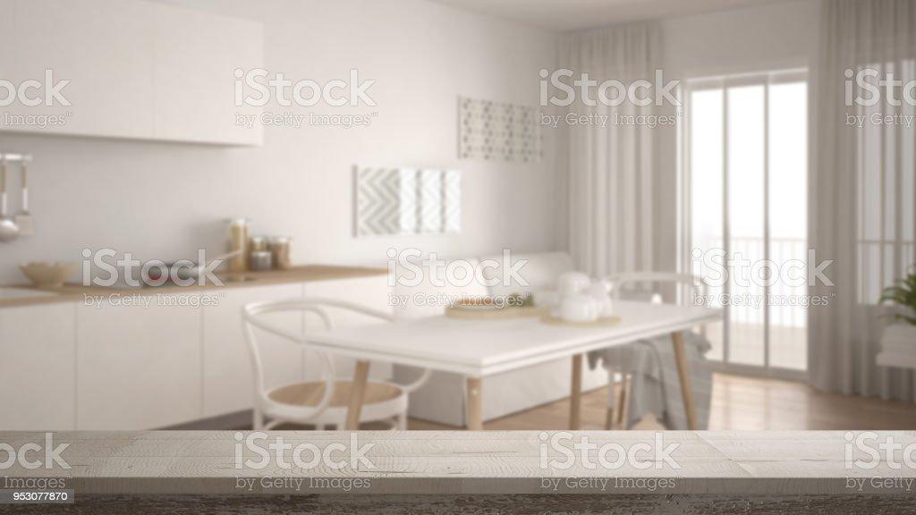Aus Holz Vintage Tisch Oder Regal Closeup, Zen Stimmung über Verschwommenes  Skandinavische Küche Mit Sofa