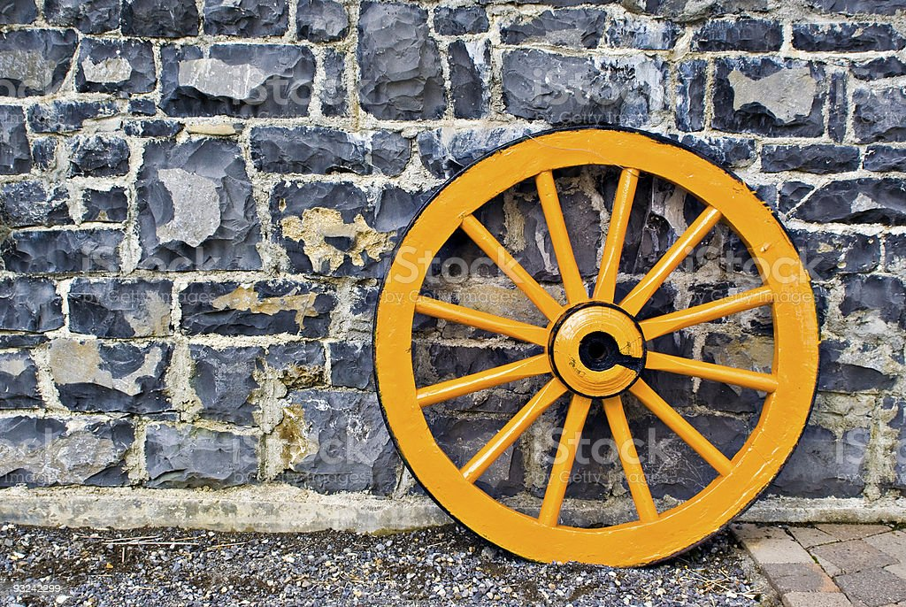 Wooden Wagon Wheel royalty-free stock photo