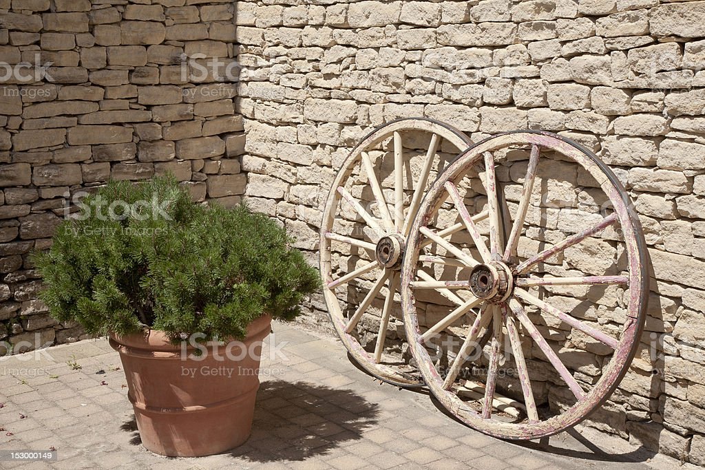 Wooden Wagon Wheels stock photo