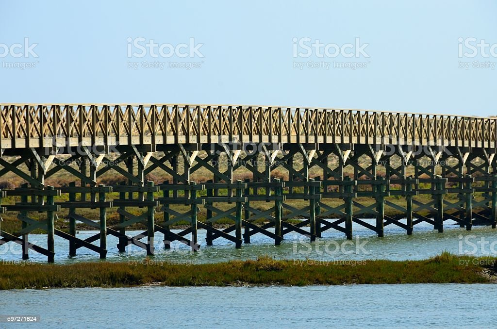 Pasarela de madera en Quinta do Lago, Almancil royalty-free stock photo