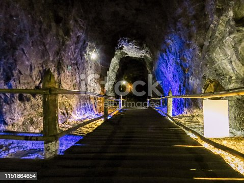 Underground mine tunnel with pond in diminishing perspective