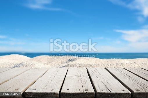 Wooden walkway on the sandy beach