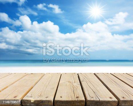 Wooden walkway on the sunny beach