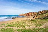 Wooden walkway to the beach Praia da Amoreira, Algarve, Portugal