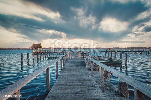 Wooden walkways at Hemmelsdorfer See in Schleswig-Holstein