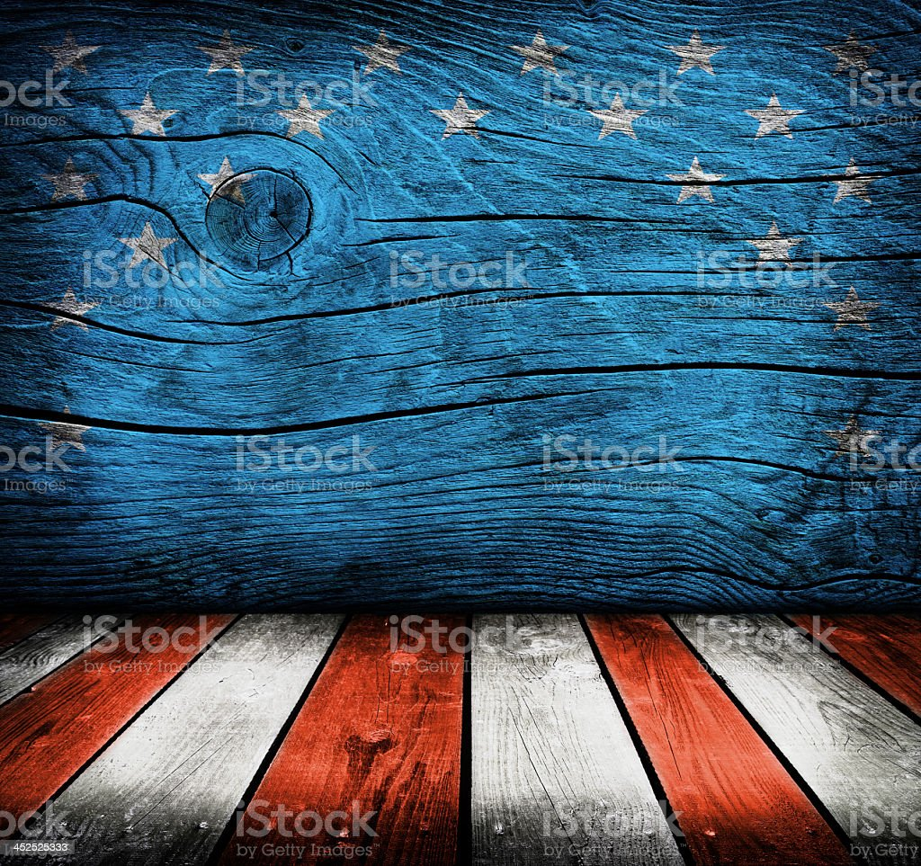 Wooden wall and floor painted to replicate the American flag stock photo