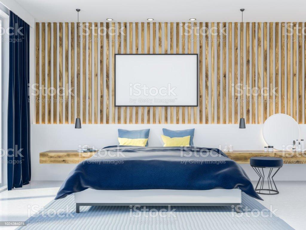 Holzwand Schlafzimmer Interior Poster Stockfoto und mehr ...
