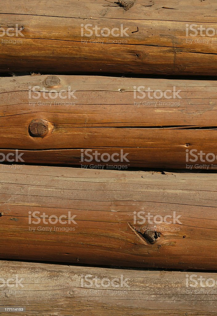 Wooden Wall from Logs royalty-free stock photo
