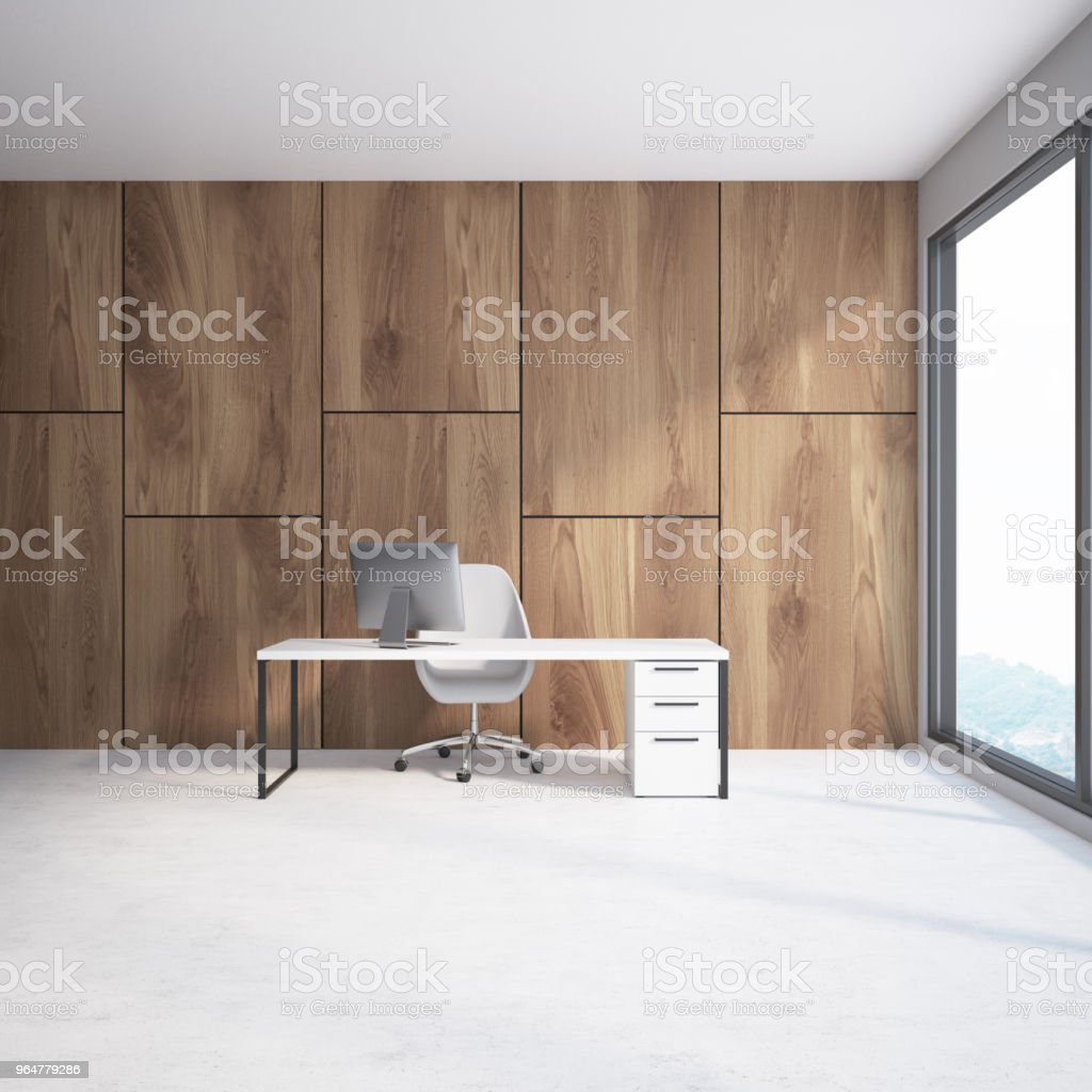 Wooden wall loft CEO office interior royalty-free stock photo