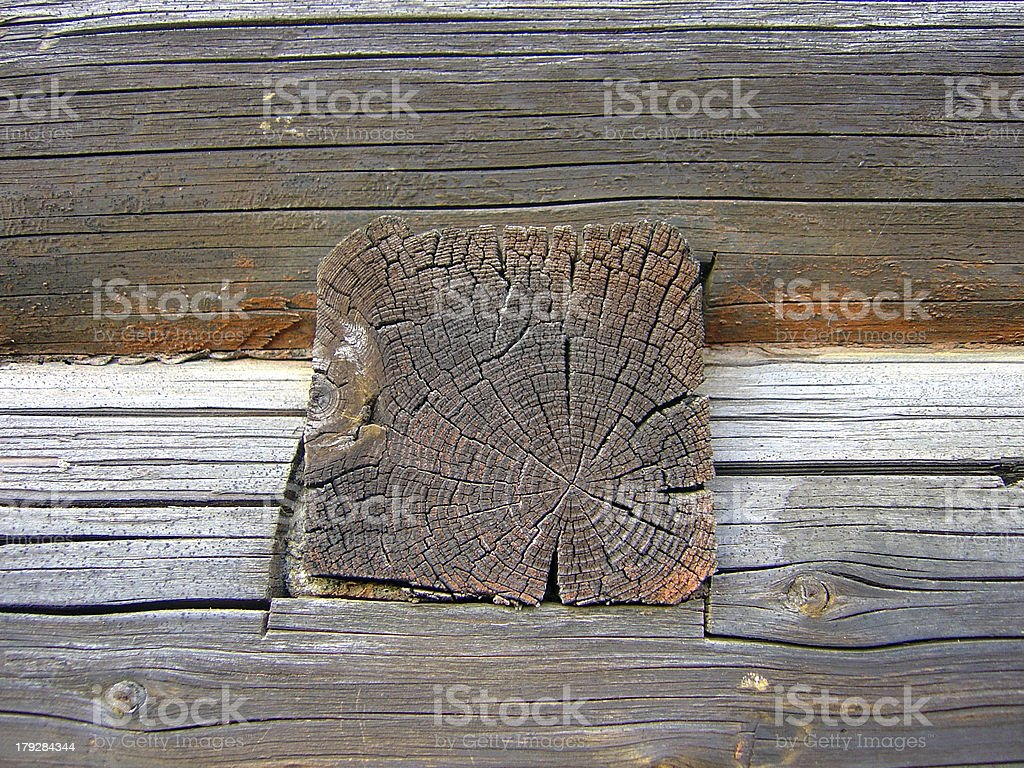 Wooden wall of an old logghouse royalty-free stock photo