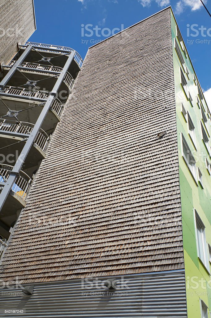 Wooden wall of modern appartement building stock photo