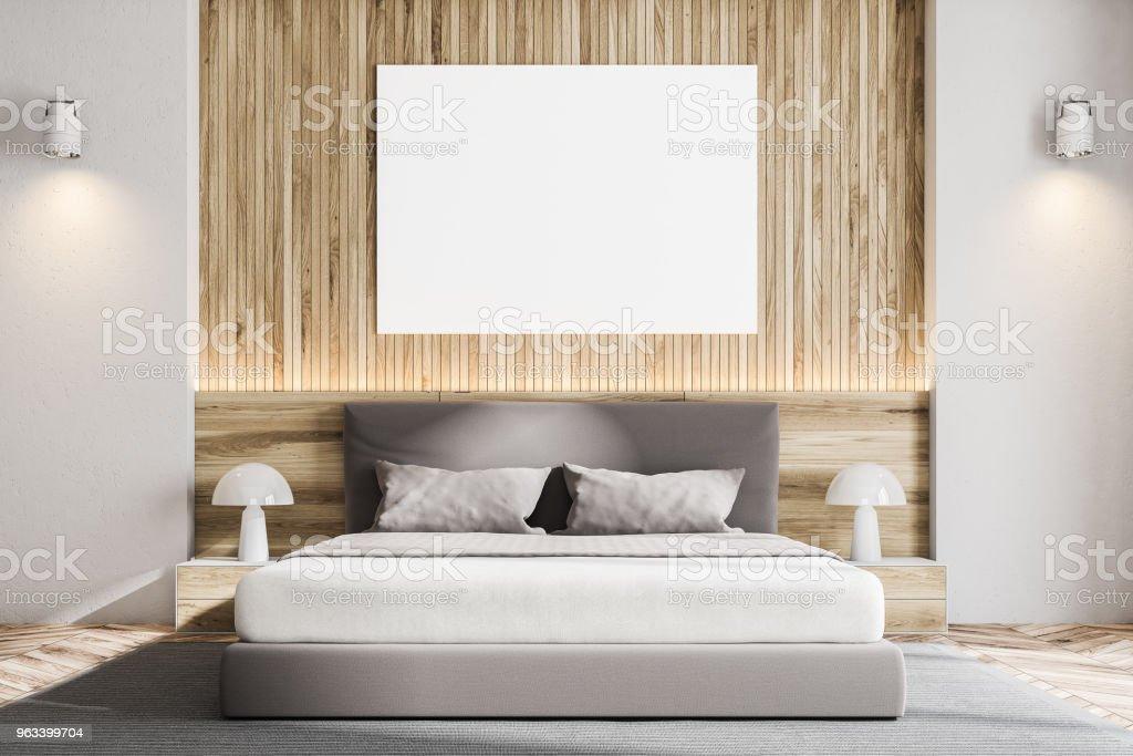 Drewniana ściana skandynawska sypialnia, plakat - Zbiór zdjęć royalty-free (Architektura)
