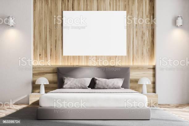 Drewniana Ściana Skandynawska Sypialnia Plakat - zdjęcia stockowe i więcej obrazów Architektura