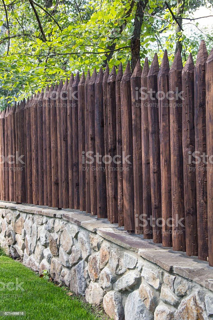 Wooden wall with brick base foto stock royalty-free