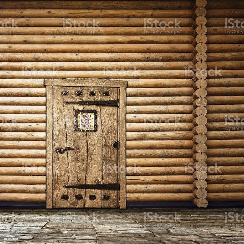 Wooden wall with door stock photo
