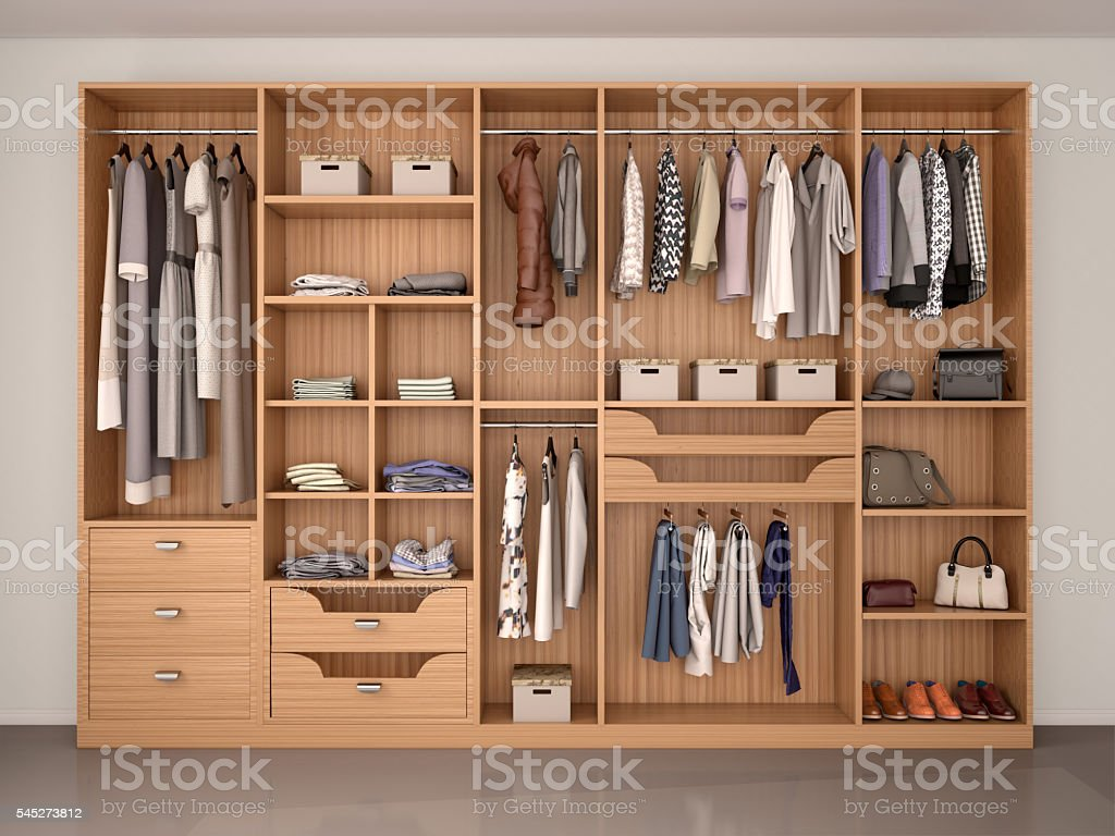 wooden wardrobe closet full of different things. 3d illustration stock photo