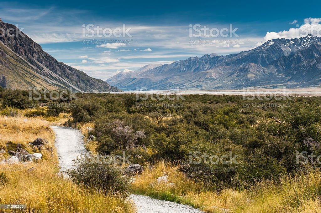 Wooden way To Aoraki/Mt. Cook, New Zealand stock photo