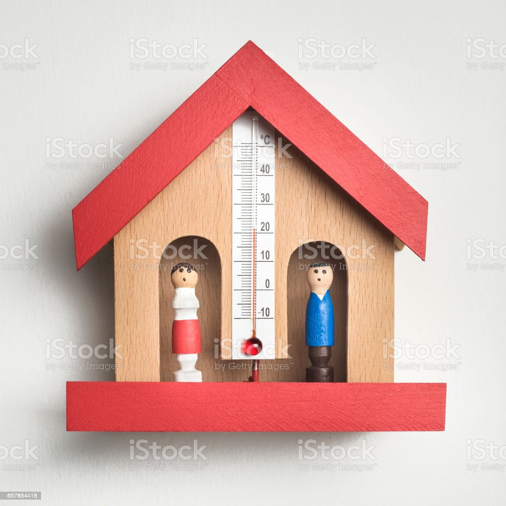 Wooden Weather House Barometer stock photo
