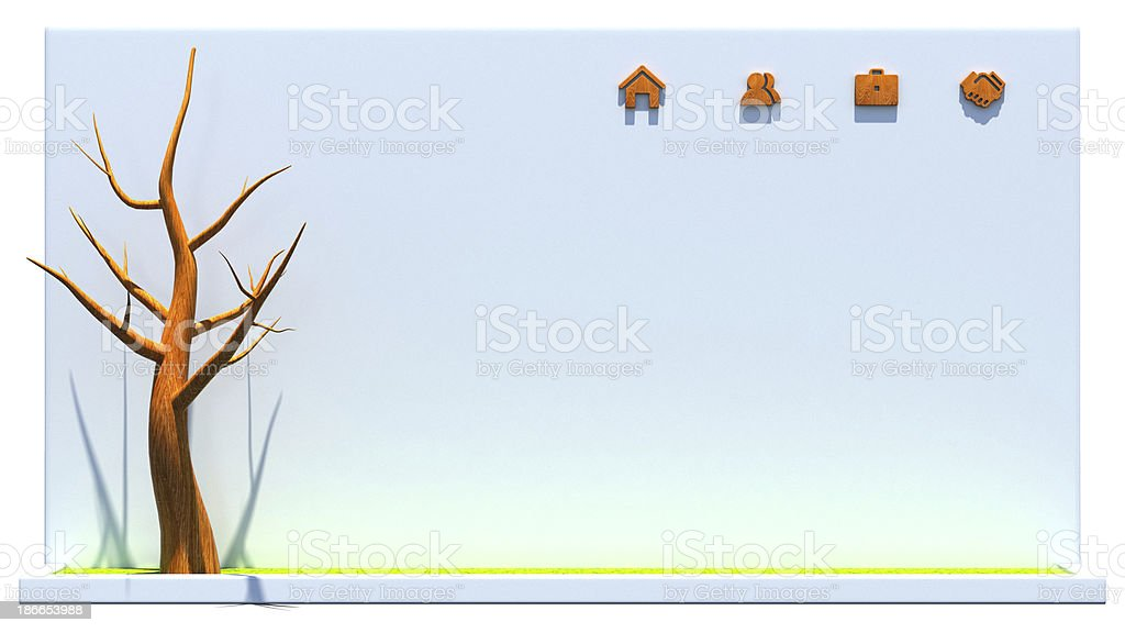 Wooden web icons on concrete wall and tree royalty-free stock photo