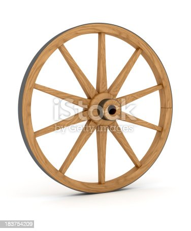 Wooden Wheel. Digitally Generated Image isolated on white background