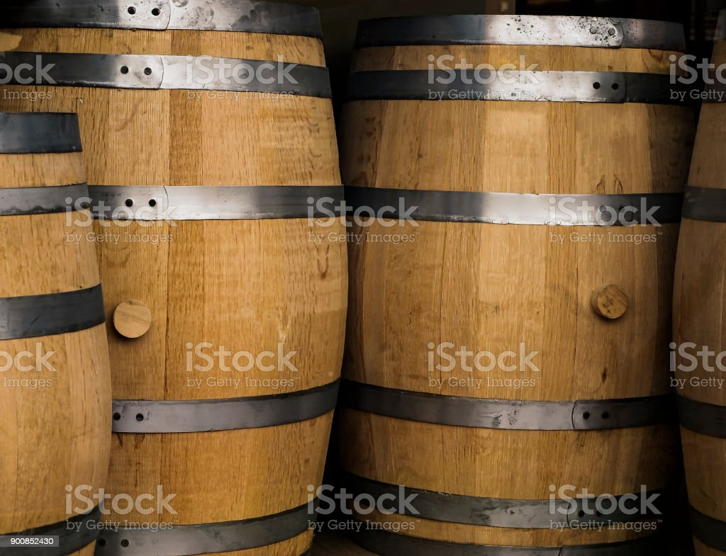 Wooden Whiskey Barrels stock photo