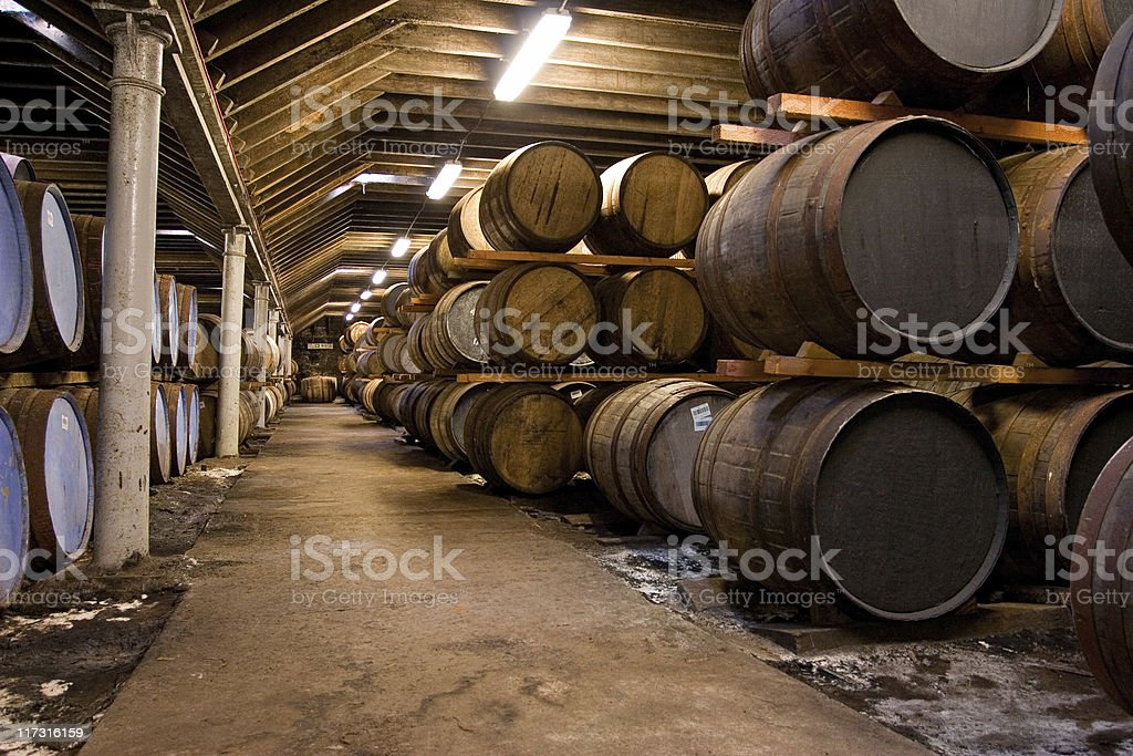 Wooden whisky barrels stock photo