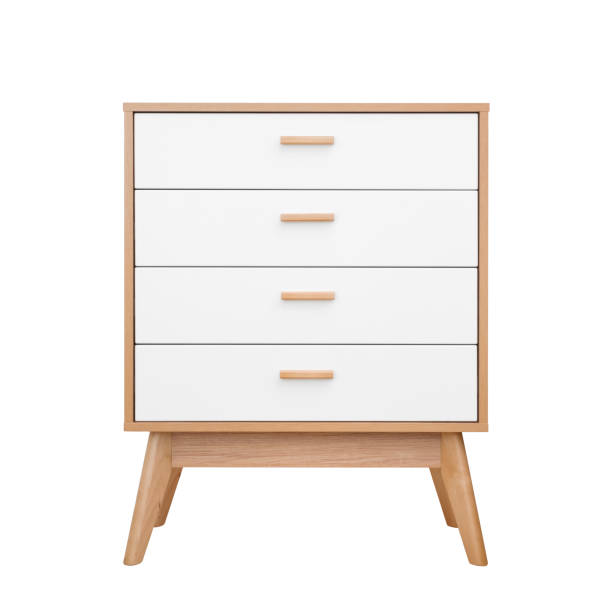 wooden white chest of drawers front view isolated on white - sideboard imagens e fotografias de stock