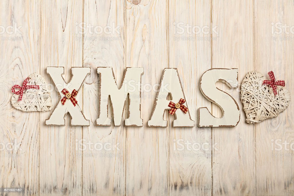 Wooden white XMAS letters on a white wooden background foto stock royalty-free