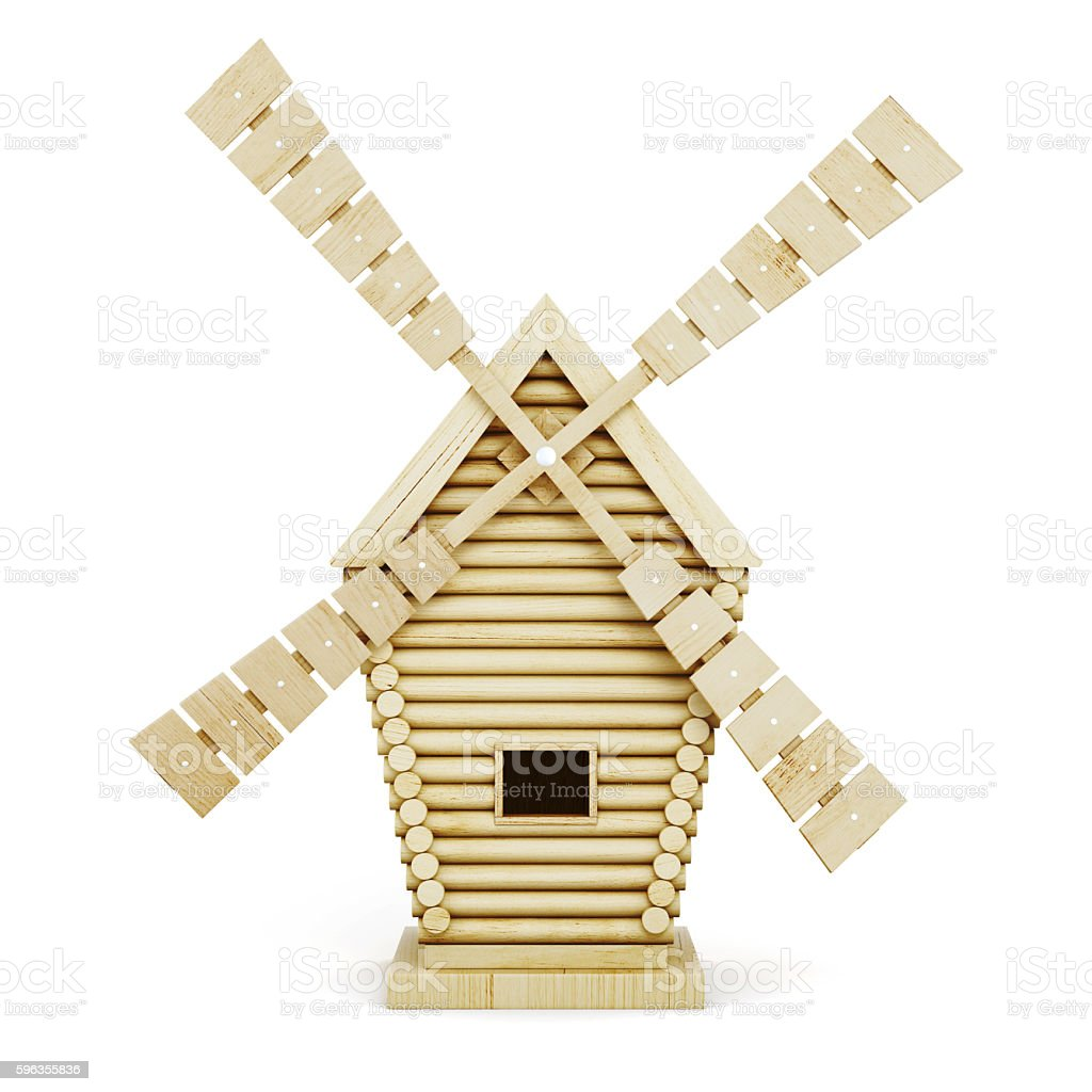 Wooden windmill front isolated on white background. 3d rendering royalty-free stock photo